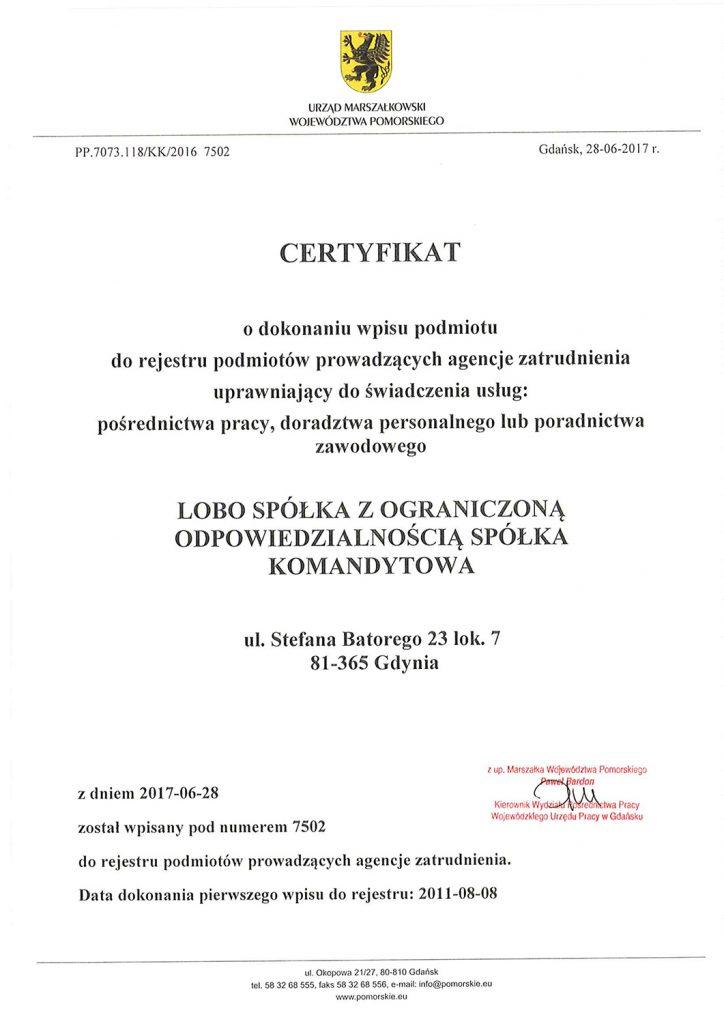 certyfikat lobo hr
