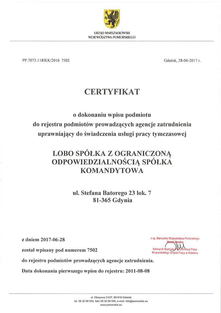 certyfikat lobo hr 2